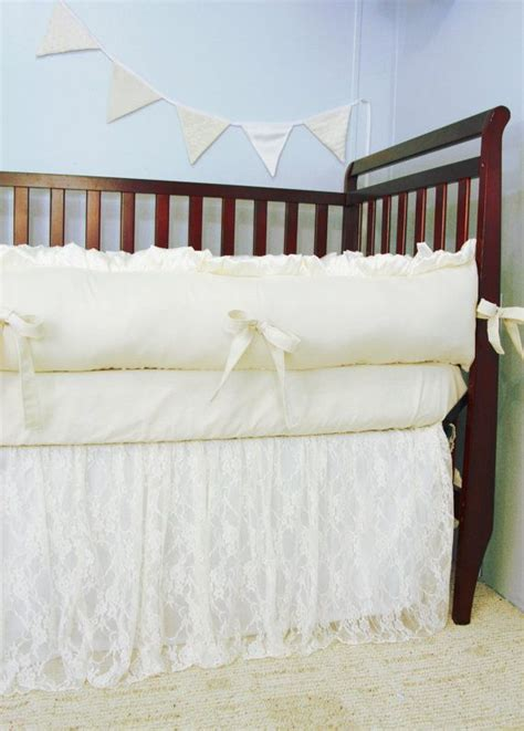 Lace Crib Skirt by Baby Bedding Crib Bedding Ivory Lace And Ivory Cotton