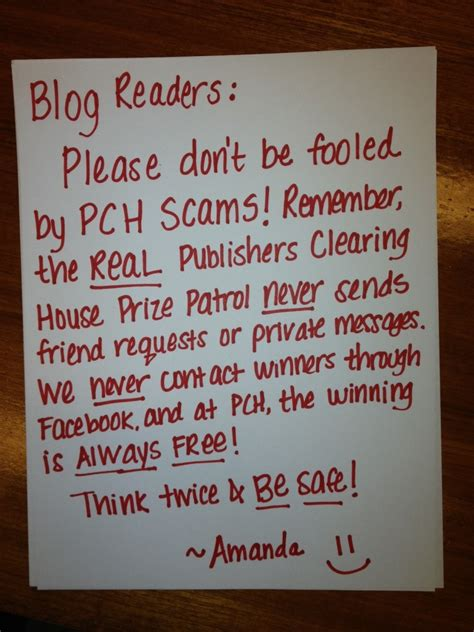 a personal exle of a publishers clearing house pch scam pch blog - Publishing Clearing House Scams