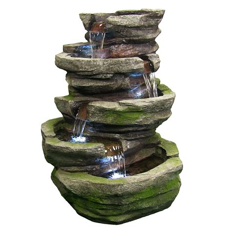 Outdoor Fountains With Lights Outdoor Cobblestone Waterfall With Led Lights By Sunnydaze Decor Nexusdecor Nexus