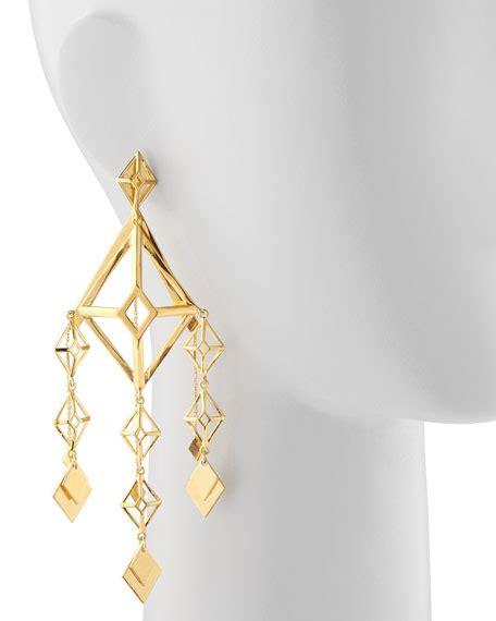 Large Gold Chandelier Earrings Eddie Borgo Gold Large Lattice Chandelier Earrings