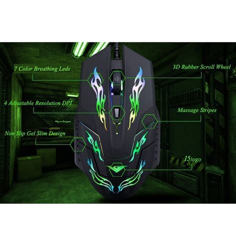 Rajfoo I5 Mouse Gaming rajfoo i5 mouse gaming usb dengan cahaya led black