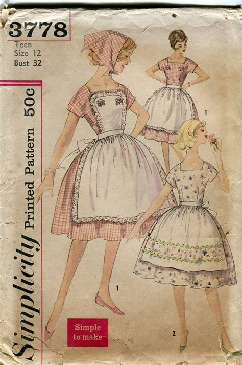 pattern for vintage apron 1950s vintage apron pattern simplicity 3778 full by