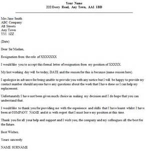 Sle Resignation Letter Uk by Resignation Letter Exle Without Notice Period Icover Org Uk