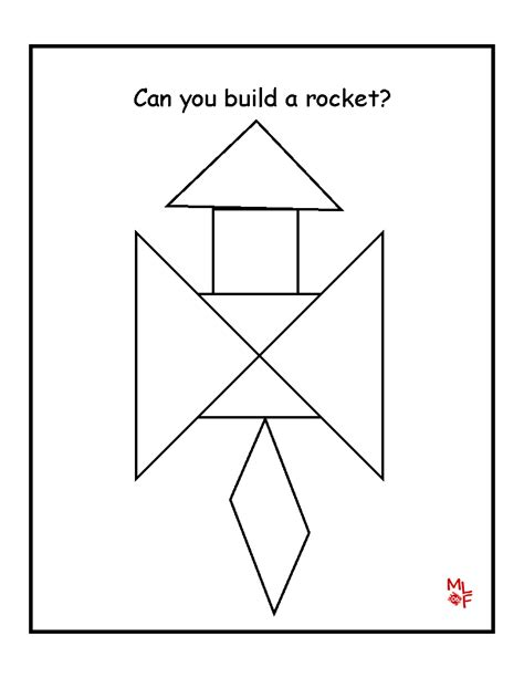 printable shapes patterns rocket tangram printable preschool space pinterest