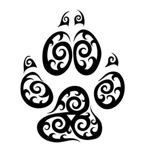 water element sign in a wolf paw print tattoos