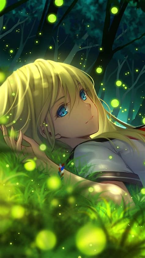 anime girl with fireflies anime girl wow i didn t know fire flies were little