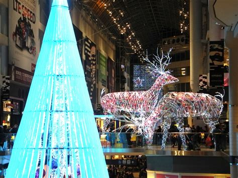toronto s eaton centre xmas decorations at night in 2012
