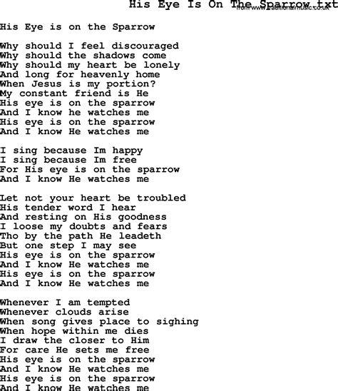 printable lyrics to his eye is on the sparrow negro spiritual slave song lyrics for his eye is on the