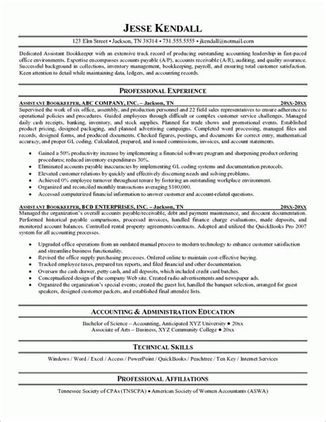Bookkeeper Resume Sles by Bookkeeping Resume Sle Jennywashere