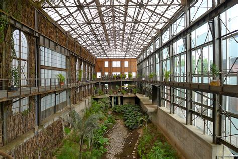 unique factory abandoned factory library greenhouse influx