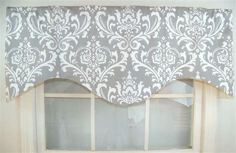 Gray Balloon Valance Ozzy Damask Shaped Valance In Grey