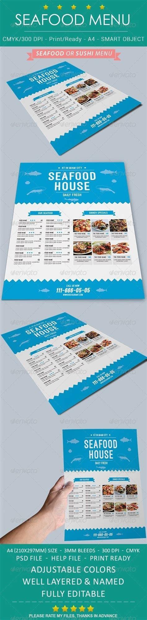 Seafood Sushi Restaurant Menu Restaurant Menu Template Seafood And Flyers Seafood Menu Template