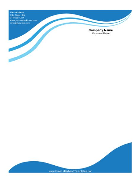 free company letterhead template word business letterhead with blue waves