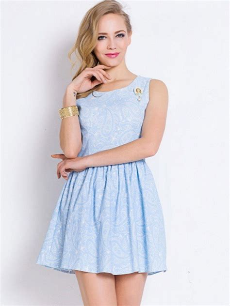 Light Blue Skater Dress by Cheap Limited Edition Wonderful Light Blue Sleeveless Lace