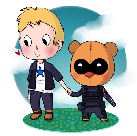 Bucky Creme steve and bucky animal crossing style by