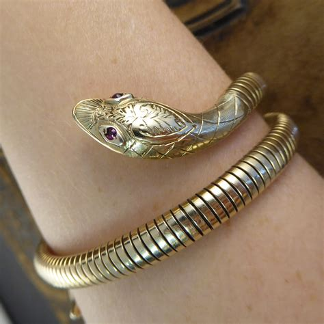 Vintage Ruby Snake Flexi Bangle Bracelet in 9ct Gold ? Jewellery Discovery