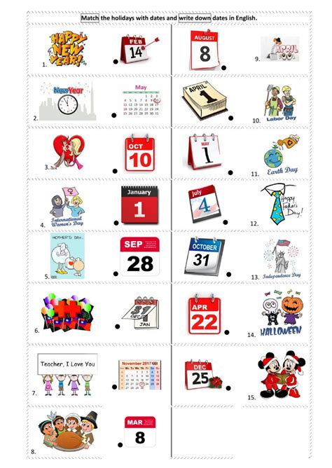 Open Sans Light Holidays Dates Interactive Worksheet
