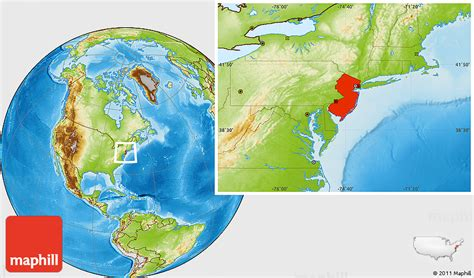 new jersey usa map location physical location map of new jersey