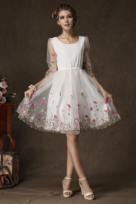 net pattern dress noble and elegant temperament dress floral pattern half