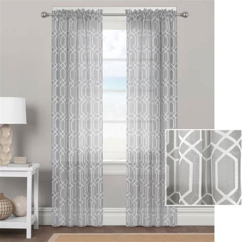 better homes and gardens embroidered sheer curtain panel better homes and gardens geometrics sheer curtain panel ebay
