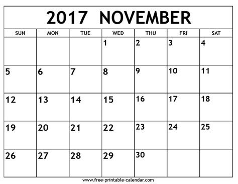 Calendars That Work November 2017 November 2017 Calendar Free Printable Calendar