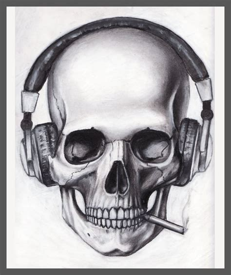 skull music tattoo designs cigarette skull design best designs