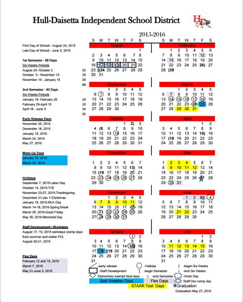 District 20 Calendar Home Hull Daisetta Independent School District