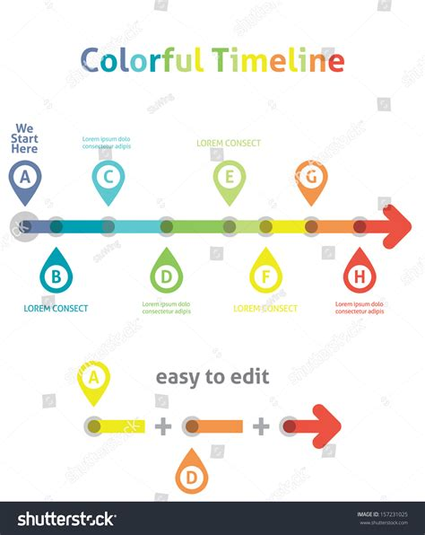 colorful timeline infographic template easy to edit