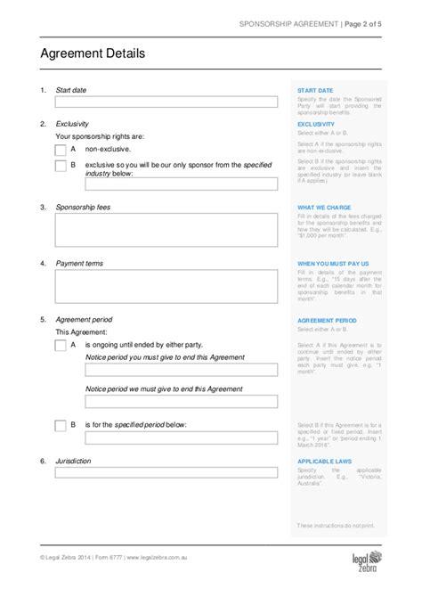 sponsorship agreement template sponsorship agreement template sle