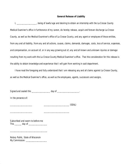 general release of liability form sle general liability form 10 free documents in word pdf