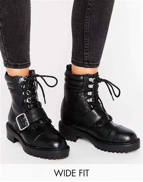 wide biker boots look wide fit look wide fit buckle 90s biker boots