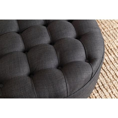 grey tufted ottoman abbyson living bethany round tufted ottoman in gray hs