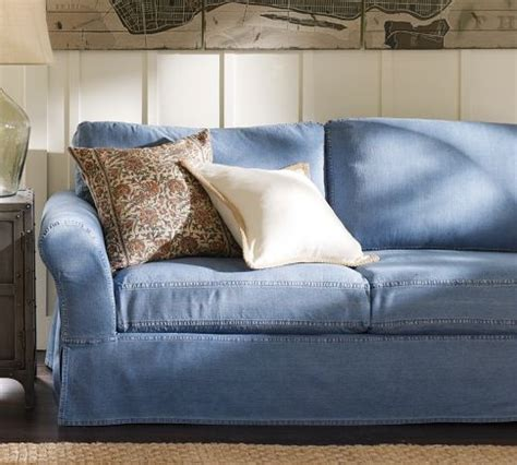 pottery barn denim sofa slipcovers casual denim for home living