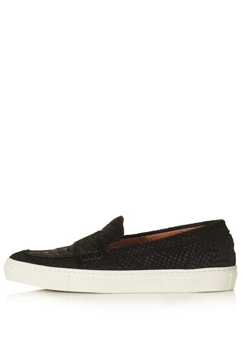 topshop katch slip on trainers in black lyst