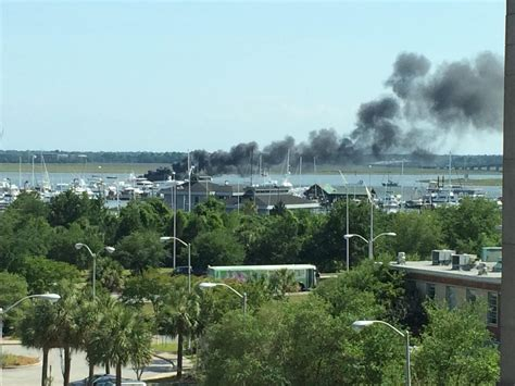 charleston boat boat fire in the charleston harbor sconfire