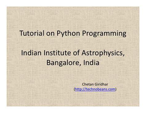 tutorial python language tutorial on python programming