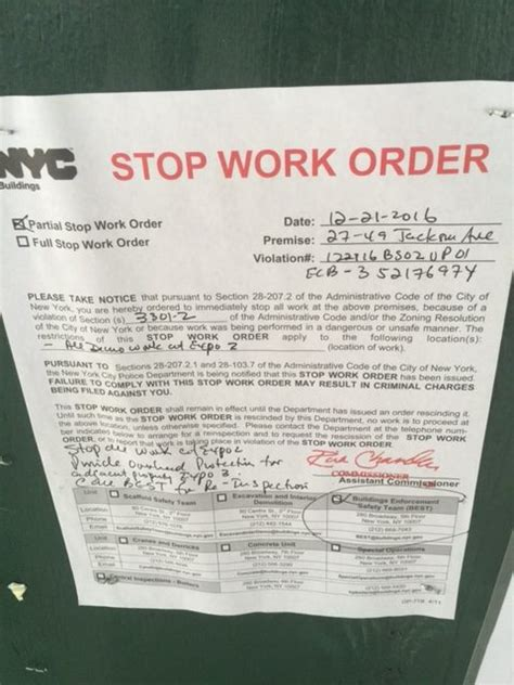 stop work order stop work order issued at 27 49 and 27 51 jackson avenue