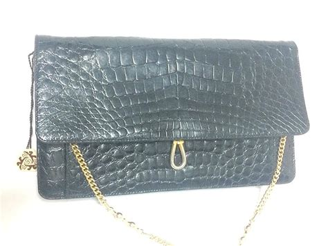 Handbag Clutch Bally Black vintage bally genuine black crocodile chain clutch