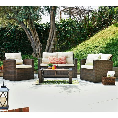 Weatherproof Patio Furniture Sets Roatan 4 Outdoor Wicker Conversation Set Thy Hom Furniture Sets Patio