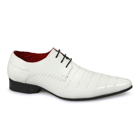 rossellini mens white patent formal shoes by shuperb
