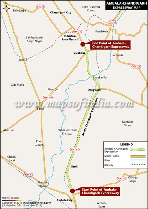 Ambala Chandigarh Expressway, Map of Ambala Chandigarh ...