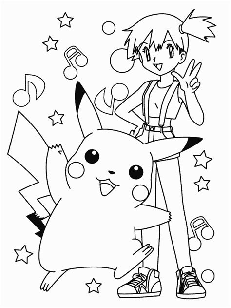 pokemon coloring pages misty pokemon misty pikachu and krabby to color