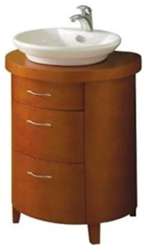 Rounded Bathroom Vanity Pegasus 714106 Westbourne 24 Quot Vessel Vanity Set In Cherry With A Vitreous Modern
