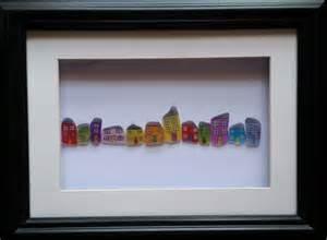 Wedding Gift Art Sea Glass Houses Pebble Art Sea Glass Art Folksy