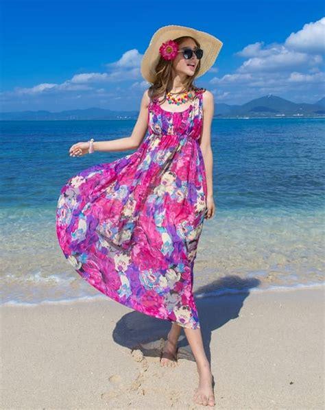 Baju Pantai Wanita Dress Maxi jual dress motif bunga bunga casual pantai impor
