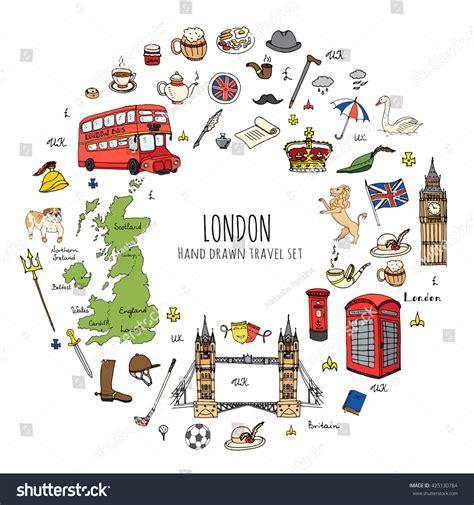 doodle uk doodle united kingdom set stock vector