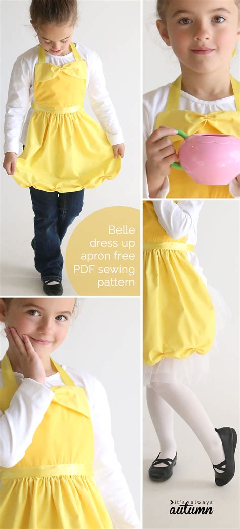 sewing pattern dress up free sewing pattern for belle princess dress up apron it