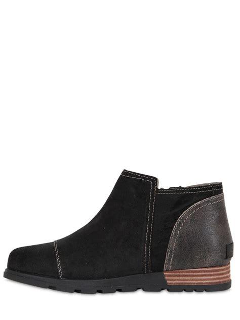 sorel plus major low side zip leather boots lyst sorel major low premium suede ankle boots in black