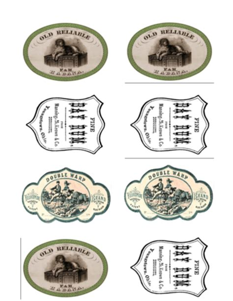 vintage labels with fake designs for antique decor label