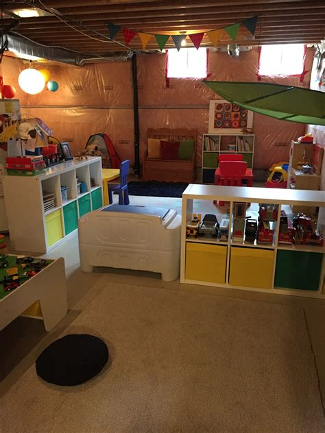 transform  unfinished basement   playroom